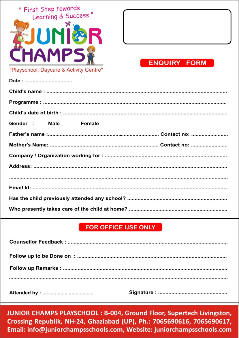 Junior Champs Play School Indias Premium Preschool Daycare Chain – Admission Form for School